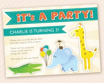 Animal Themed Birthday Party Invitation Design