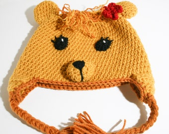 Crochet Lioness Hat, Crochet Beanie, Toddler Hat, Animal Hat, Crochet Baby, Safari Animal Hat, Jungle Hat, Photo Prop, Earflap Hat, Girl Hat