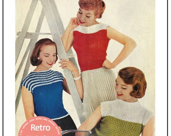 1950s Rockabilly Style Sweater -  PDF Knitting Pattern - Instant Download
