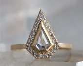 Geometric White Rose Cut Diamond Engagement Ring with Pave Halo