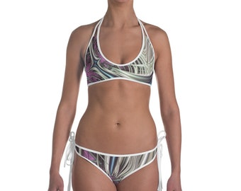 Purple Blue White 2 Piece Bikini, Fractal Infinity Festival Swimwear, Sacred Geometry Trippy Swimsuit, Millennial Style Boho Fashion Piece