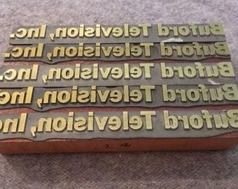 Set of 5 Vintage Letterpress Printer Block Buford Television, Inc Logo Word Type
