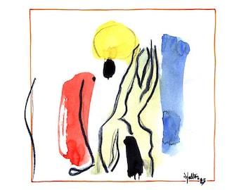 Effigie 3. Aquarelle, encre de chine et crayon gras noir sur feuille de bloc à dessin esquisse