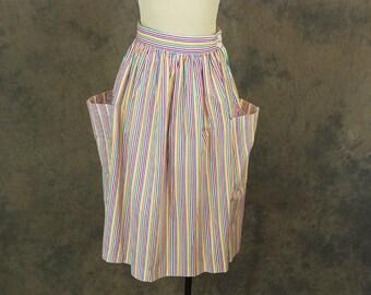 vintage 80s Midi Skirt - 1980s Rainbow Striped Skirt Huge Pocket Skirt Sz S