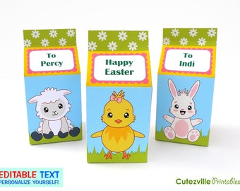 Easter Carton, Favor, Candy, Gift Boxes - Editable Text Printable PDF - INSTANT DOWNLOAD
