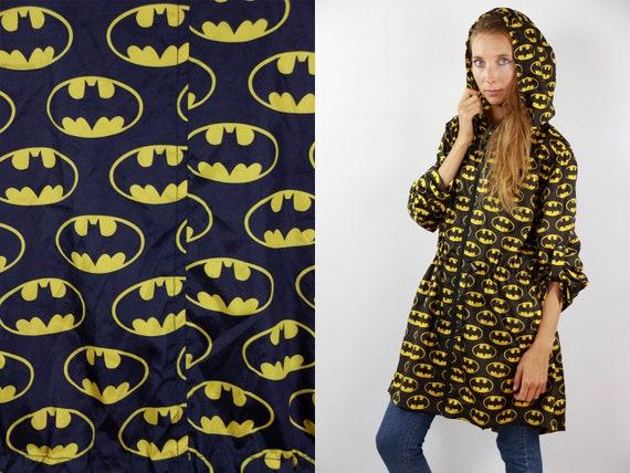 Bat Man Jacket Batman Festival Jacket Cartoon Rain Jacket Windbreaker Batman Shell Jacket Festival Black Raincoat Windbreaker 90s Jacket