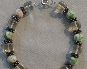 Retro Inspired Pink and Green Marble Bracelet