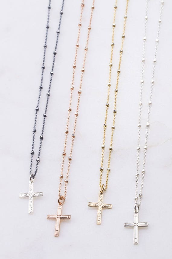 Small Cross Necklace Religious Jewelry Gift for Her Cross