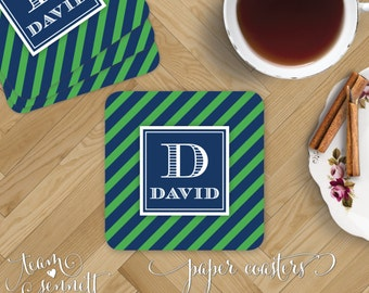 Stripes Paper Coasters - Monogrammed Disposable Drink Coasters - Personalized Masculine Party or Home Decor - Custom Printed Hostess Gift
