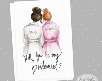 Bridesmaid  PDF Download printable cards, dark brunette bride, red head bridesmaid Will you be my bridesmaid invitation