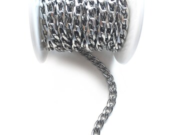 1 Meter Large Stainless Steel Curb Link Chain - 6.6 x 11.4mm links - Grade 304L