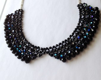 Jet Black Beaded Collar Necklace