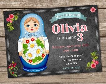 Matryoshka Doll Party Invitation, Russian Nesting Doll Birthday Invitations, Matryoshka Doll Birthday Invites, Babushka Baby Doll Birthday