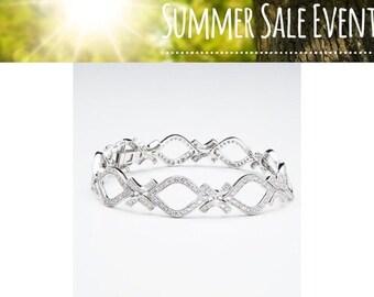 Diamond Tennis Bracelet 1.22 Carat 14K White Gold Pave Setting 7 inch