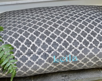 xl Grey Dog Bed - Quatrefoil Grey Dog Bed - Personalized Chenille Geometric Custom Pillow Cover by Three Spoiled Dogs