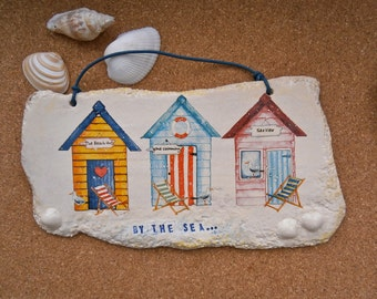 Beach huts plaque with shells - Seaside ceramic wall art with decals - Deck chairs by the sea wall hanging