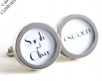 Custom Cufflinks Personalized Groom Cufflinks Names and Date Gatsby Style or Customise