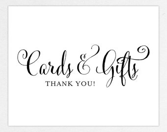 INSTANT DOWNLOAD Cards and Gifts Sign - DIY, Printable