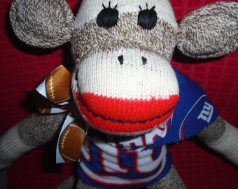 NY Giants Football Brown Red Heel Classic Sock Monkey Doll