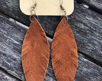 Rust Leather Feather Earrings