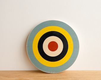 Target Wall Art, Circle Wall Decor, Target Decor, Bull's Eye Art, Archery Art, Target Wall Hanging, Blue/Yellow/Navy/White/Red, colorway #11