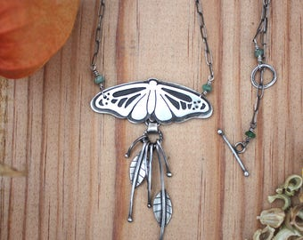 Moth with Brazilian Emeralds - sterling silver, statement necklace, nature lover, Lepidoptera, winged insect, one-of-a-kind