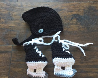 Hockey Skate Ice Skate Baby Booties and Helmet Set