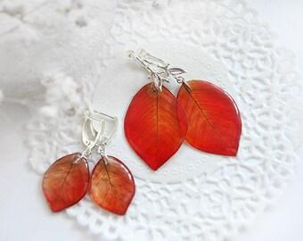 Red earrings Mommy and Me set earrings for Mother daughter gift baby shower gift Leaves earrings Christmas gift for grandma granddaughter