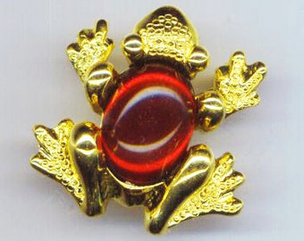 Vintage 60s Frog Brooch, Marked Richelieu, Animal Creature, Green Red Yellow Black Pin, Ruby July Gift- Jelly Belly by enchantedbeas on Etsy
