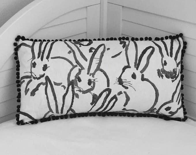Groundworks Bunny Hutch Print  in Black on Both Sides Designer Lumbar Pillow Cover with Small Pom Pom Trim