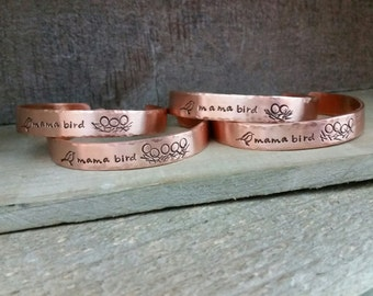 Copper Mama Bird Nest Cuff (Choose Your Number of Eggs)