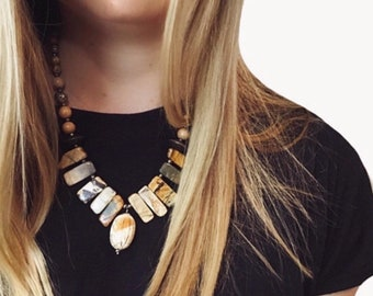 Chunky statement necklace - Chunky gemstone necklace - Neutral statement necklace - Chunky stone necklace - Statement necklace chunky