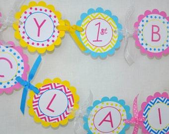 Girls Birthday Banner - 1st Birthday Banner - Chevron Birthday Decorations with Polkadots - Teal, Pink, Yellow