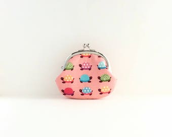 Turtle on Pink Coin Purse - Change Purse - Mini Pouch - Womens Purse - Coin Pouch - Jewelry Purse - Purse Accessories - Gift for Her