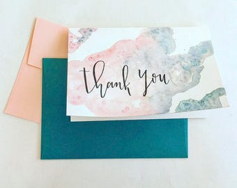 Thank You Card with Blush and Teal Watercolor