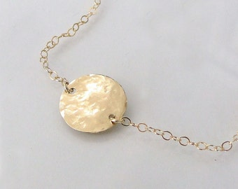 14K Gold Solitary Circle Necklace - 14K Gold Single Disc Necklace, 'Femme' - Ultra Feminine  Yellow, Rose, White Gold, or Two Tone