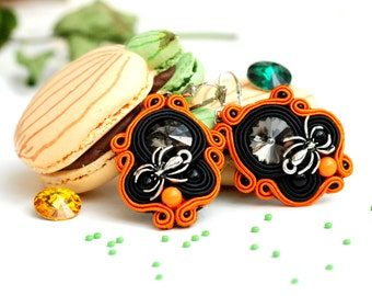 Halloween Itsy Bitsy Spider - Handmade Soutache Earrings