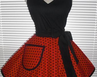 Retro Pinup Style Apron Flirty Circular Skirt Black Dots On Bright Red