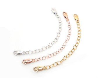 Oxidized Sterling Silver Necklace Extender Lobster Clasp 14K