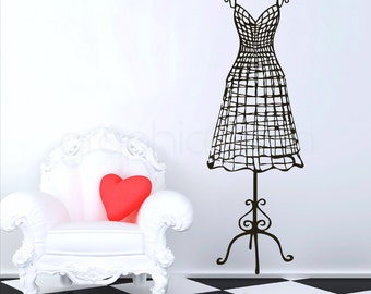 WALL DECAL wire like dress form - Vinyl mannequin interior decor