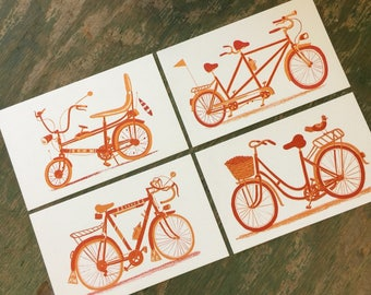 BICYCLE PRINTS, letterpress bikes, cycling art, bike print, bicycle decor, bicycle wall art, wall decor, gift for cyclist, ten speed, tandem