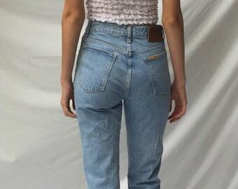 light wash high waist jeans / Edwin jeans tapered leg jeans / cropped jeans vintage denim jeans | 27W size 2 4