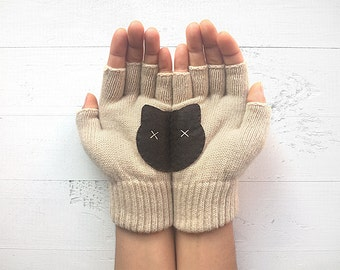 Gift For Women, Cat Gloves, Mother's Day Gift, Cat Lover Gift, Gift For Her, Gift Idea For Mom, Anniversary Gift, Women's Mitten, Cat Gift