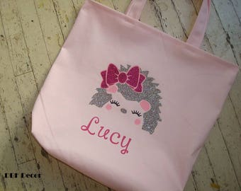 GIRLS PERSONALIZED Tote Bag -Girl Hedgehog Bag- Personalized Bag-Light Pink girl tote -Hedgehog face in Glitter tan and Glitter Hot Pink