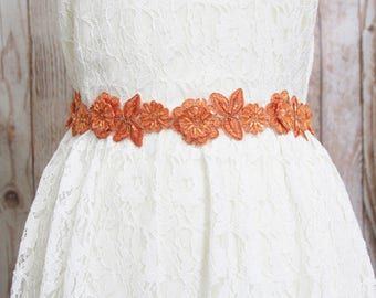 Orange Beaded Flower Lace Sash , Orange Lace Headband, Bridal Orange Sash Belt , Bridesmaid Sash, Flower Girl Sash / SH-08