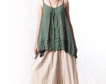 NO.120 Olive Cotton Crochet Trim Camisole,  Pintuck Detail Top