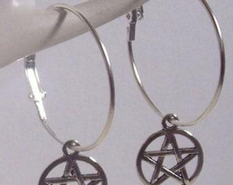 Pentagram Earrings , Pentagram Hoops , Pentacle Earrings , Silver Hoops , Wicca Earrings , Pagan , Hoop Earrings , Wicca Jewelry , Gift