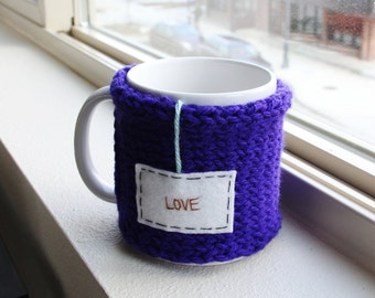 Love Mug, Personalized Mug, Knitted Coffee Sleeve Knit Coffee Mug Cozy, Love Mug Cozy, Cup Cozy, Tea Cozy, Coffee Cozy, Coffee Cup Cozy