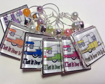 Vintage Shasta Travel Trailer Wine Glass Charms, Drink Markers, RV Wine Accessories, Travel Party, Party Favors, Bunco - Set of 6 (407-8)