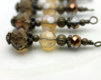 Vintage Style Smokey Topaz Rondelle Crystal and Czech Bead Dangle, Drop, Charm, Pendant, Earring Dangle, Bead Dangles, Brown Dangles